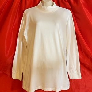 WOMAN WITHIN  White Cotton Turtleneck NWOT